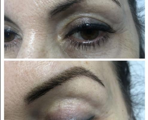 Antes y después de tintura con henna para cejas
